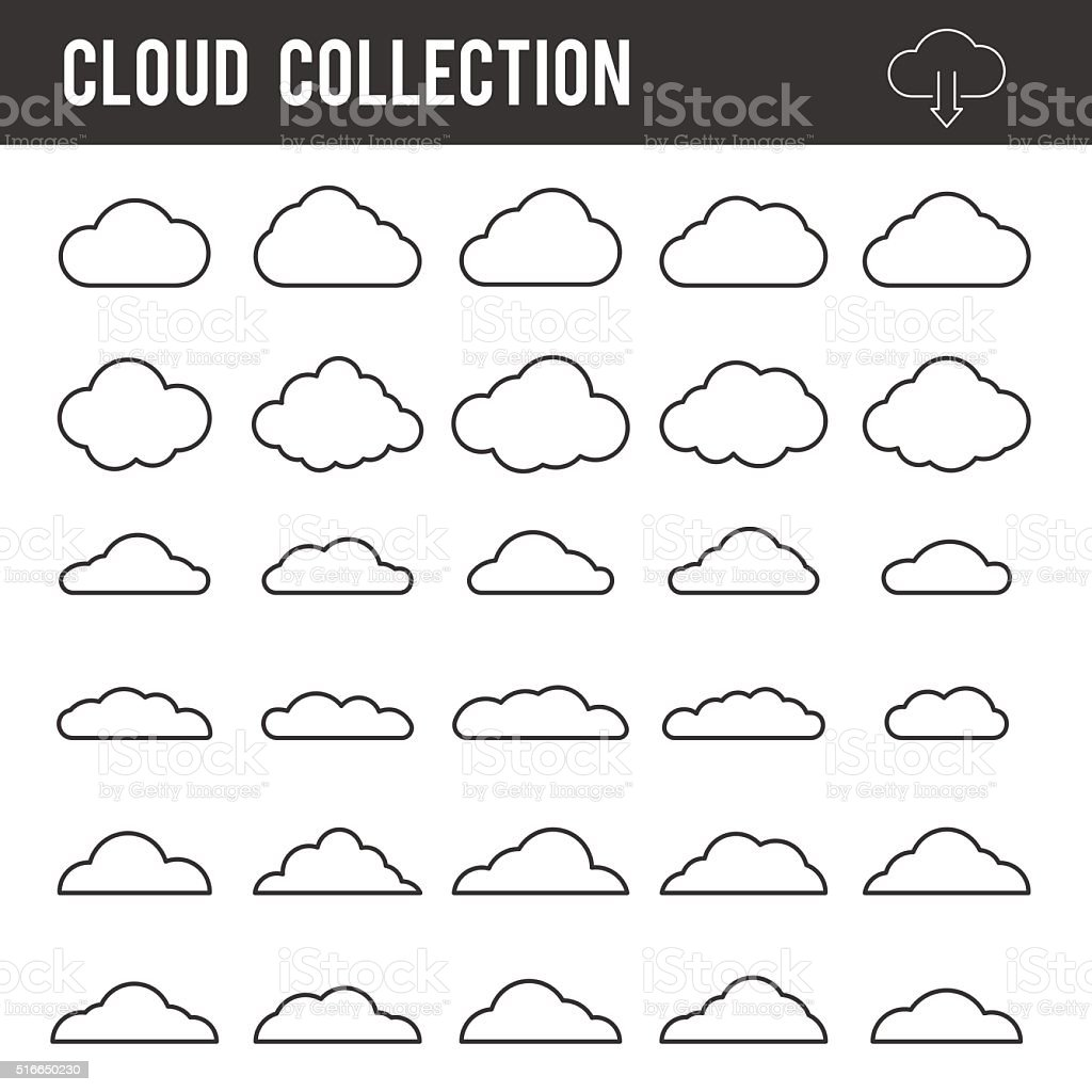 Wolke konturkollektion vektor iconsetvorlage stock vektor for Cloud template with lines