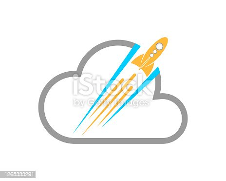 istock Cloud outline with rocket glide inside 1265333291