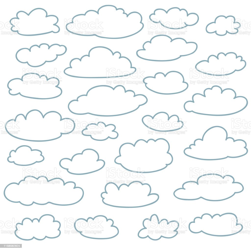 Cloud outlines collection. Set of vector cartoon cute simple clouds...
