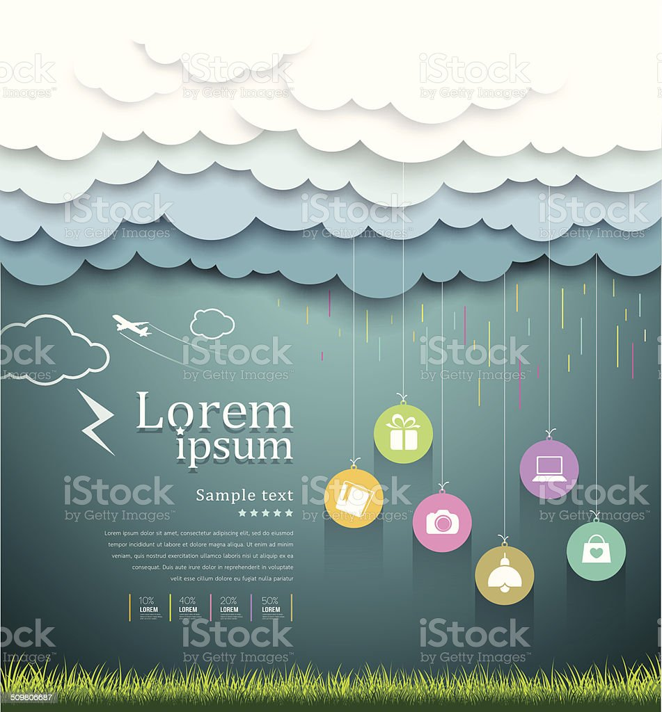 Cloud paper shape, sale shopping rainy season concept vector art illustration