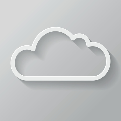Cloud Paper Thin Line Interface Icon With Long Shadow