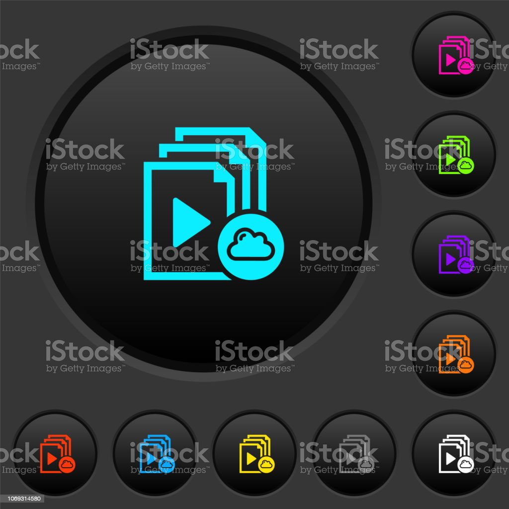 Cloud playlist dark push buttons with color icons vector art illustration