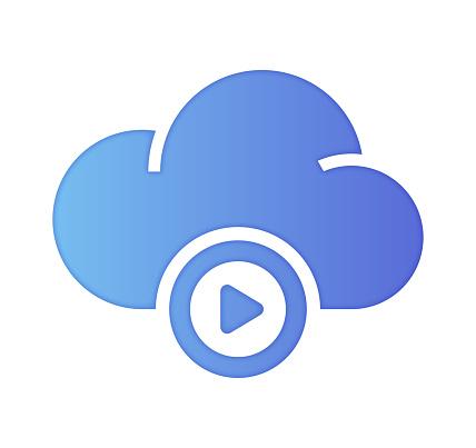 Cloud Podcast Gradient Color & Papercut Style Icon Design