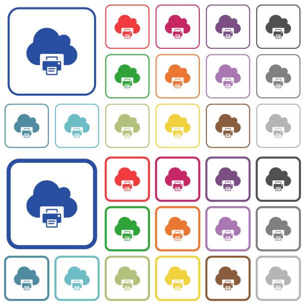 Cloud-Druck umrissene flache Farbsymbole – Vektorgrafik
