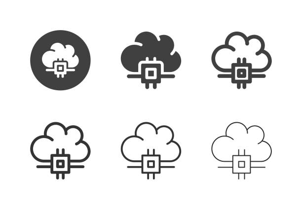 Cloud Processing Icons - Multi Series vector art illustration