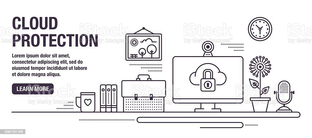 Cloud Protection vector art illustration