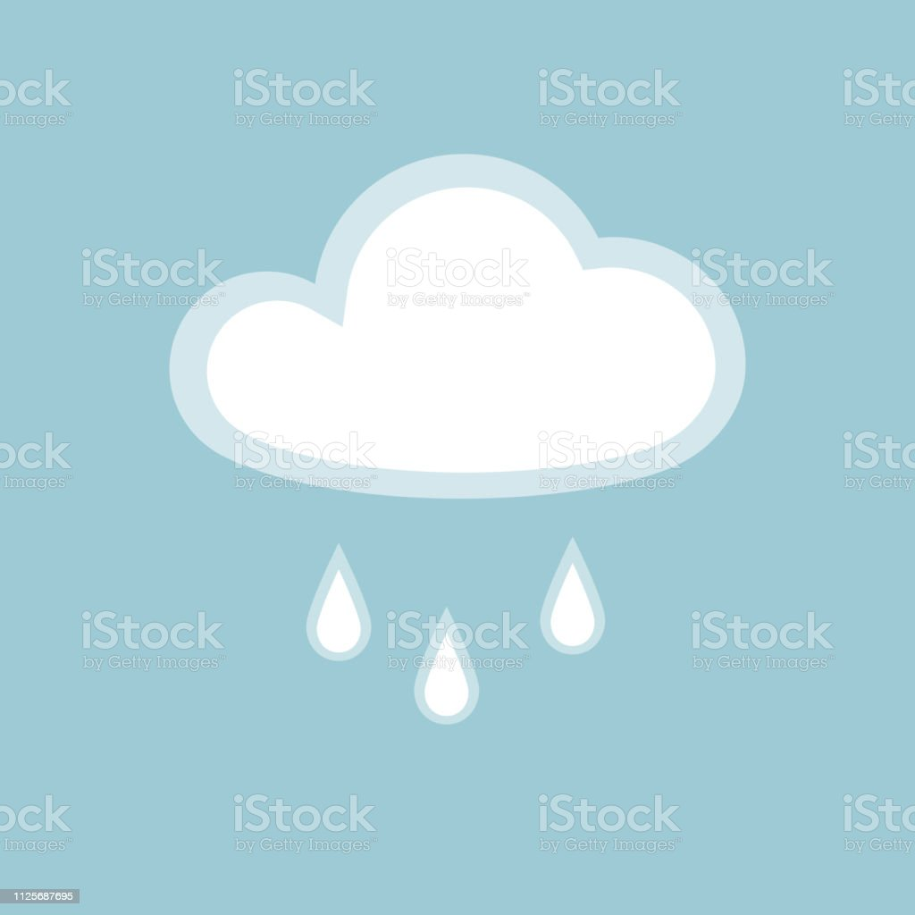... on blue background Icon cloudy rainy wet weather Flat design element of application banner card meteo weather cloud rain icon Vector wallpaper app - ...