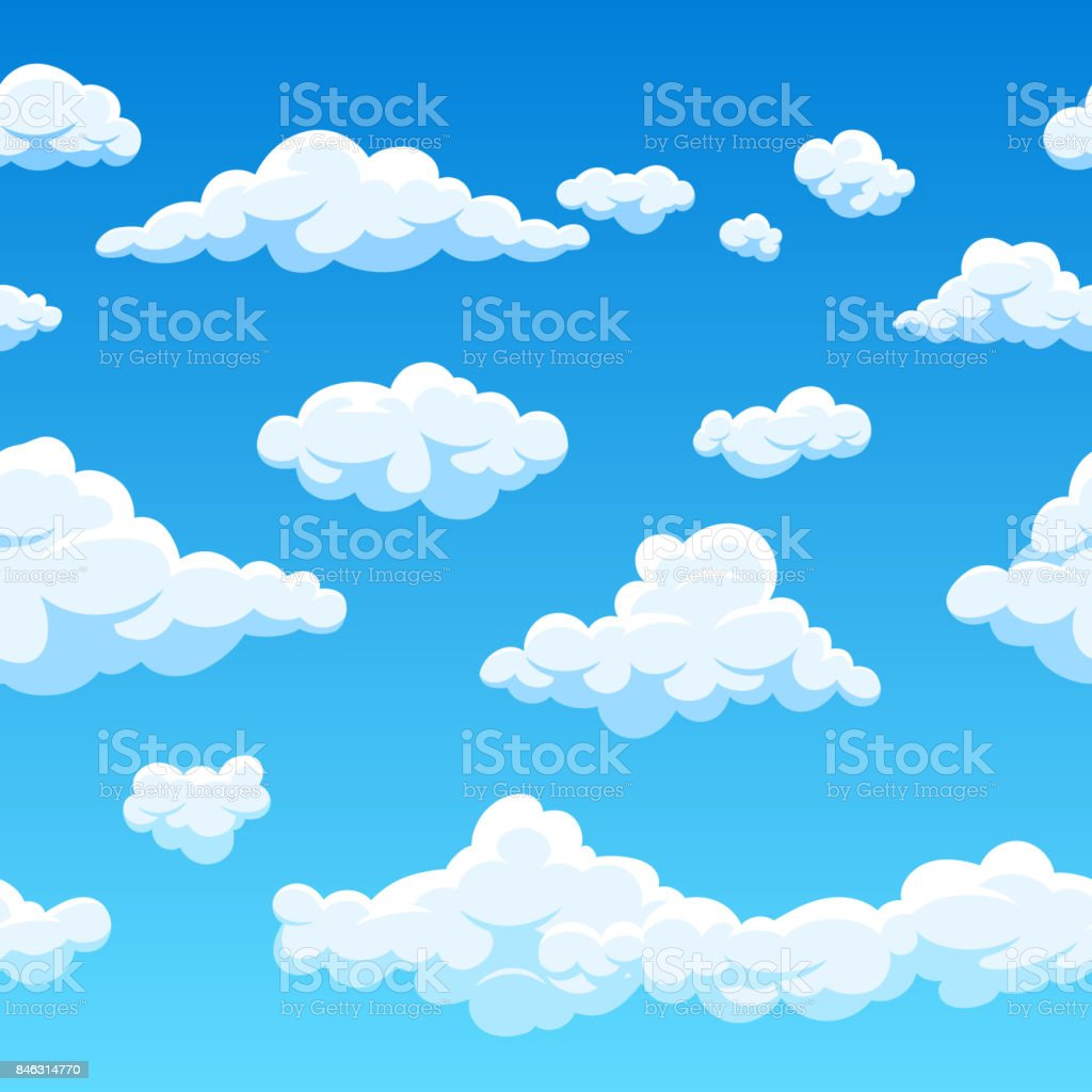 Cloud seamless vector background. Endless cartoon cloudscape vector art illustration