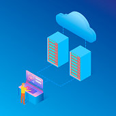 Cloud Server Big Data storage and User identification, Protected data. Vector Illustration.