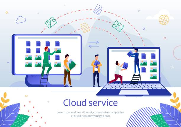 cloud service for business team work vector poster - koordynacja stock illustrations