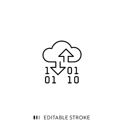 Cloud Service Icon with Editable Stroke and Pixel Perfect.