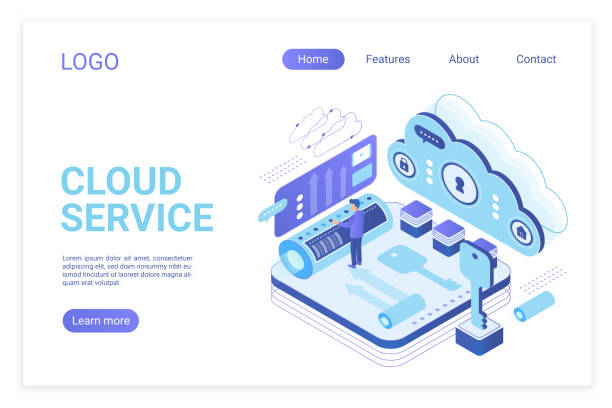 Cloud service landing page isometric vector template. Programmer synchronizing personal information. Database storage, data encryption and protection. Cloud computing website homepage layout. vector art illustration