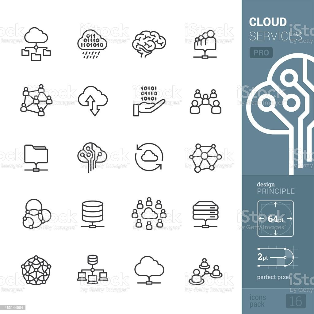 Cloud services related vector icons - PRO pack vector art illustration
