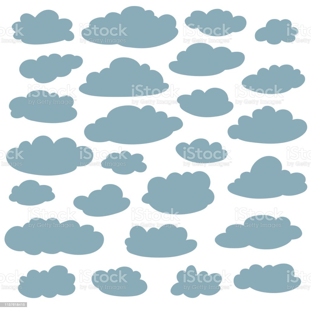 Cloud silhouettes collection. Set of vector cartoon cute simple...