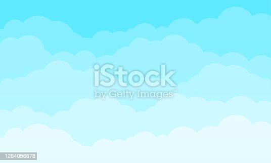 Cloud sky cartoon vector background. Blue sky with fluffy clouds pattern. Cartoon spring cloudscape panorama. Abstract vector background. Flat summer poster or flyer. Cloudy overcast weather.