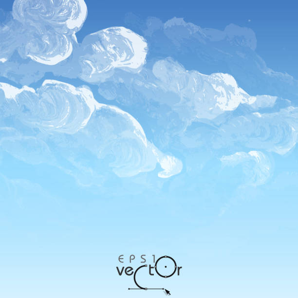 Cloud, Sky Painted Background vector art illustration
