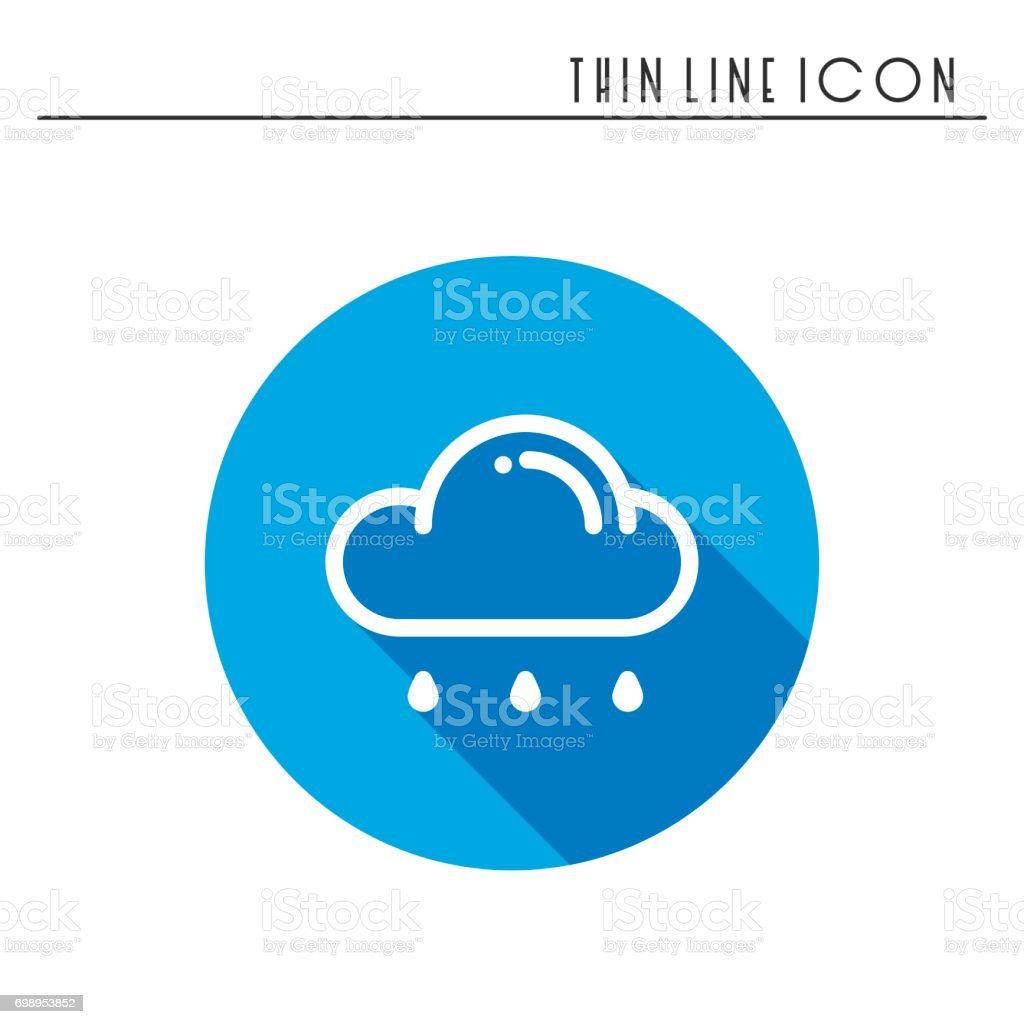 Cloud Sky Rain Line Simple Icon Weather Symbols Meteorology Forecast