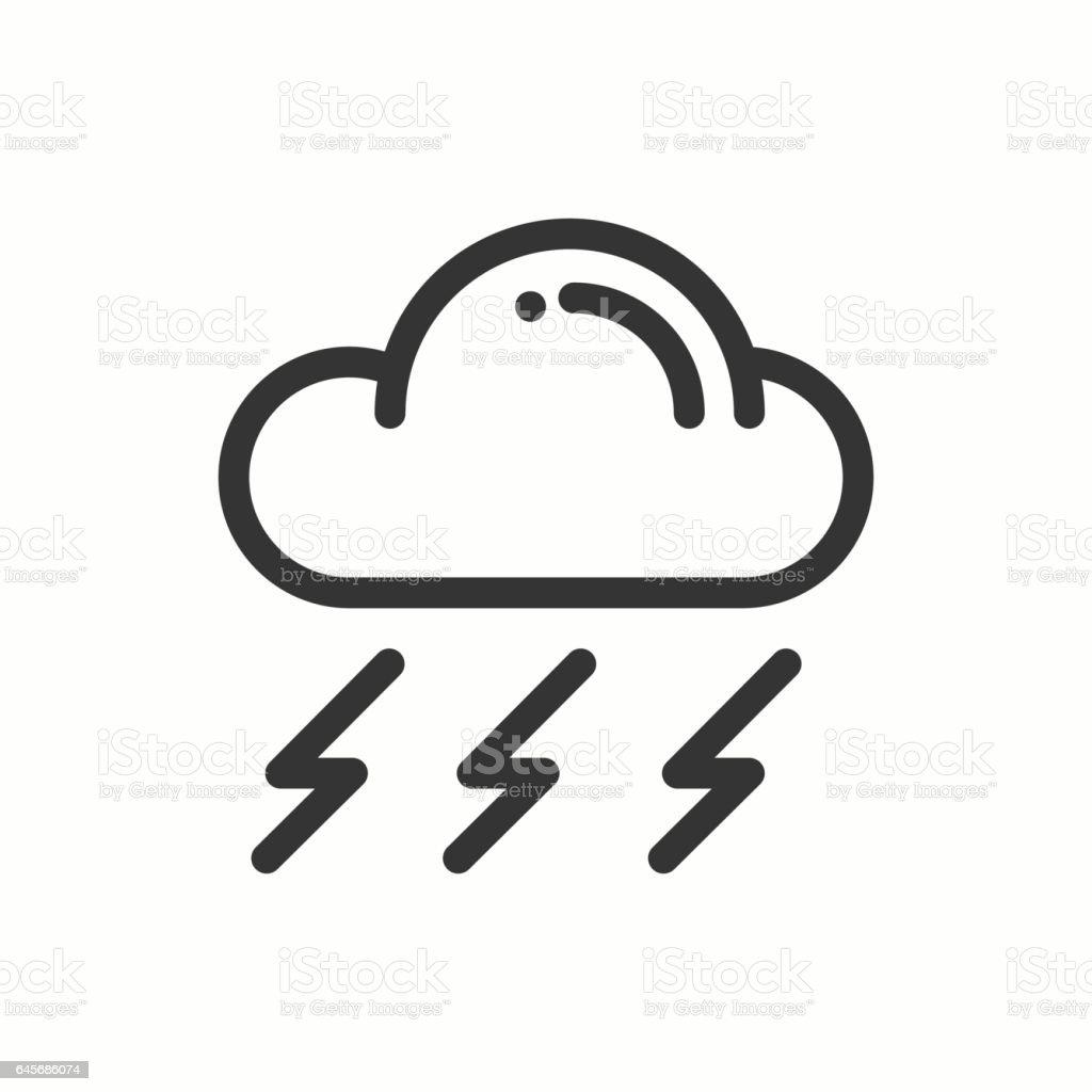 Cloud Sky Rain Storm Line Simple Icon Weather Symbols Meteorology