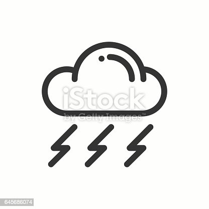 Cloud Sky Rain Storm Line Simple Icon Weather Symbols Meteorology