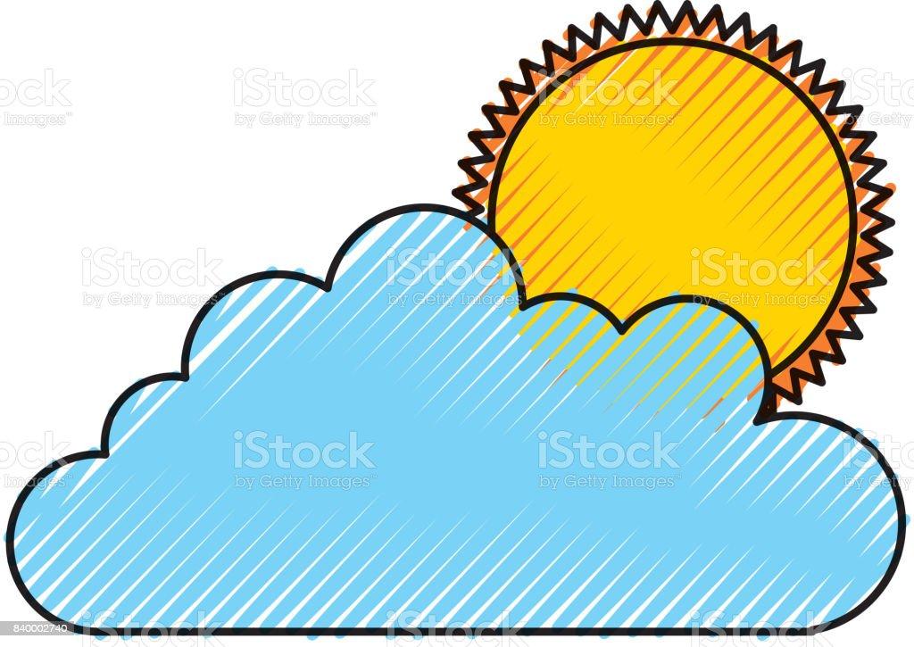 Bulut Gökyüzü Güneş Ile Stok Vektör Sanatı Animasyon Karakternin