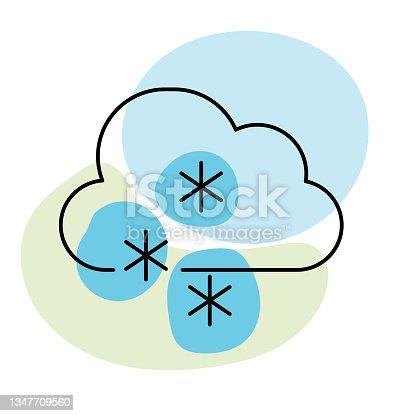 istock Cloud Snow Flurries - Weather Thin Line Icon 1347709560
