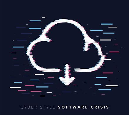 Cloud Software Crisis Glitch Effect Vector Icon Illustration
