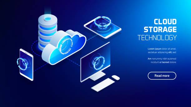 cloud storage and computing - computer server room stock illustrations