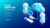 Cloud computing service, Server room with connection to user device, cloud storage service futuristic concept, isometric 3d vector illustration