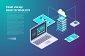 Cloud Storage and Network connection. Smart technology Isometric Concept. Data server, laptop, Mobile Phone, tablet and other devices for storage and data transmission. Vector illustration.