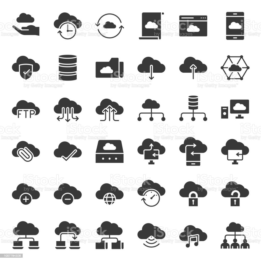 cloud storage and network simple icon