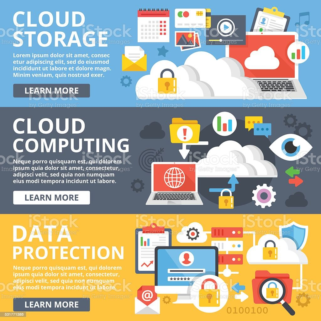 Cloud storage, cloud computing, data protection flat design illustration set vector art illustration