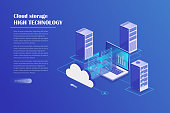 Data center, storage servers, blockchain technology isometric concept. Landing page template. Header for website. Isometric vector illustration