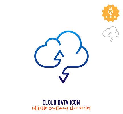 Cloud Storage Continuous Line Editable Icon