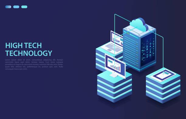 stockillustraties, clipart, cartoons en iconen met cloud opslaggegevens en synchronisatie van apparaten. concept van datacenter, data transmissie-technologie. - netwerkserver