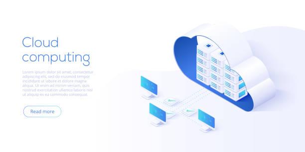 ilustracja wektora izometrycznego pobierania pamięci masowej w chmurze. usługa cyfrowa lub aplikacja z przesyłaniem danych. technologia komputerowa online. serwerów 3d i sieci połączeń centrum danych. - chmura stock illustrations