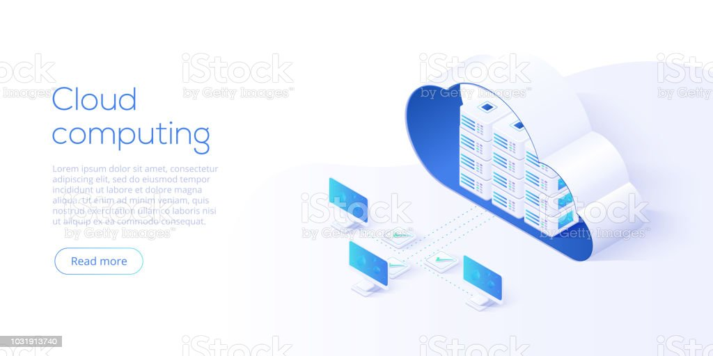 Cloud storage download isometric vector illustration. Digital service or app with data transfering. Online computing technology. 3d servers and datacenter connection network. vector art illustration