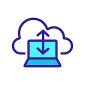 istock cloud storage icon vector. Isolated contour symbol illustration 1205195470