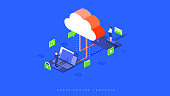Infographic illustration of cloud hosting. A businessman and a woman share files, music, emails, videos, and messages. Cloud storage laptops and office people as a metaphor for secure teamwork.