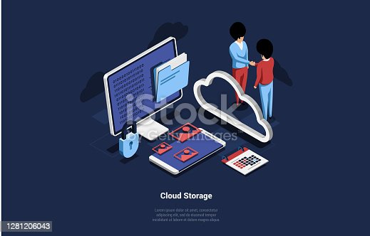 Cloud Storage Of Data Concept Vector Ilustration. 3D Isometric Composition With Cartoon Characters Shaking Hands Near Big Computer Screen And Smartphone. Folder, Lock, Images, Custody Signs Around.