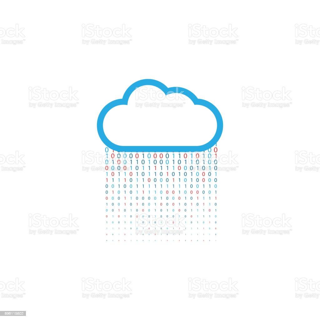 Cloud storage of digital data on a white background. vector art illustration