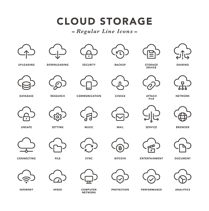 Cloud Storage - Regular Line Icons - Vector EPS 10 File, Pixel Perfect 30 Icons.
