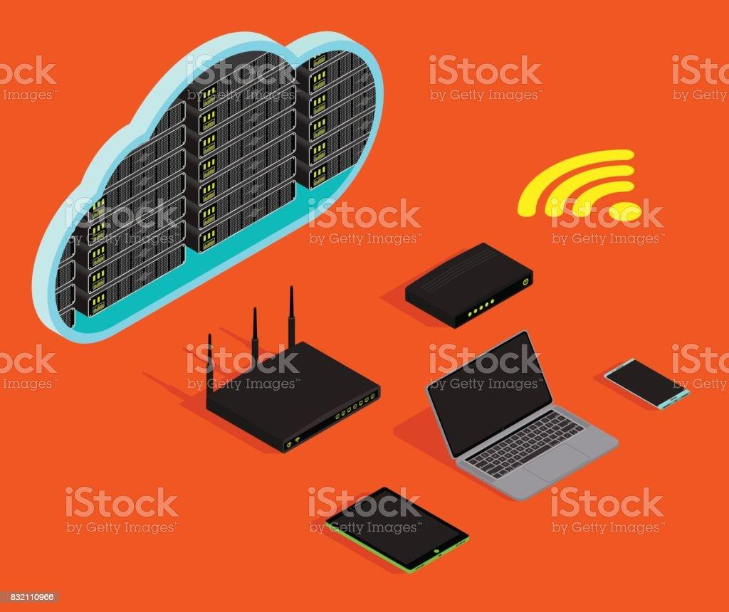 Cloud storage server isometric flat concept. vector art illustration