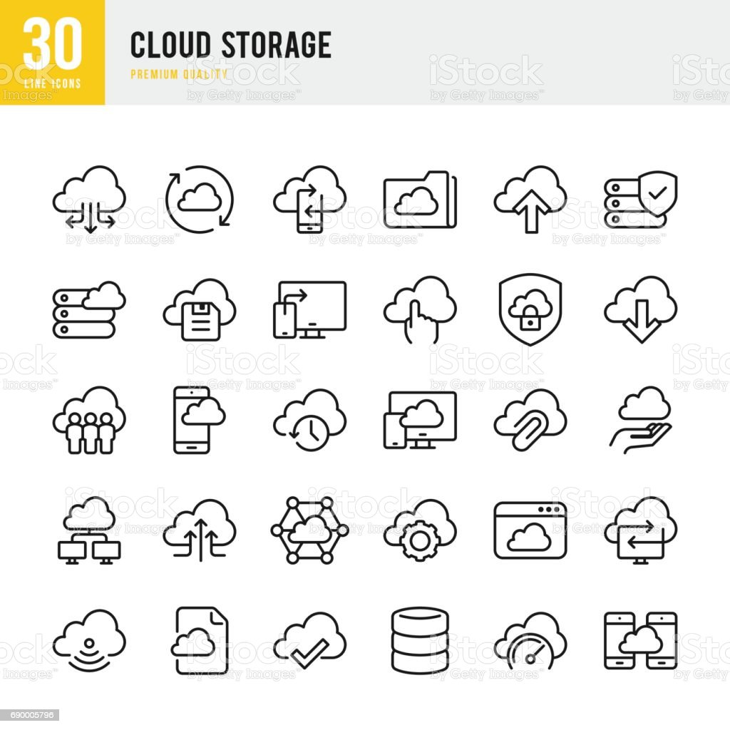 Cloud Storage - set of thin line vector icons vector art illustration