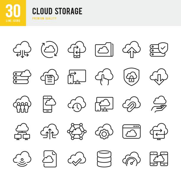 cloud storage - set of thin line vector icons - chmura stock illustrations