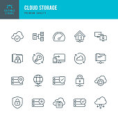 Network and Cloud Storage management vector icons