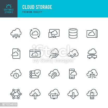 Set of Cloud Storage Services vector icons.