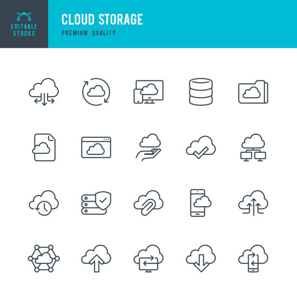 stockillustraties, clipart, cartoons en iconen met cloud opslag - dunne lijn vector icons set - back up