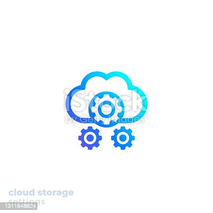 istock Cloud storage settings icon for web, vector 1311648624