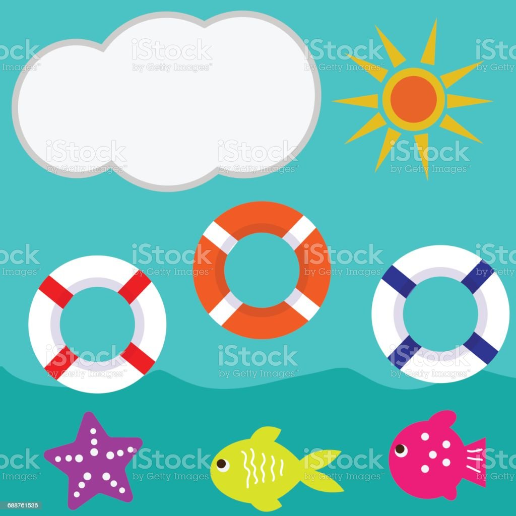 cloud sun sea summer vector illustration of lifebuoy vector art illustration