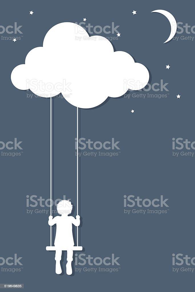 Cloud swings vector art illustration